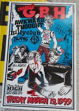 GBH POSTER Singed By Gary Gilmore NYC '99 AWKWARD THOUGH Billy Club BLANKS 77