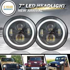 2x 7 inch Round Black Halo Led Headlight Hi-Lo Beam 85W For Freightliner Century