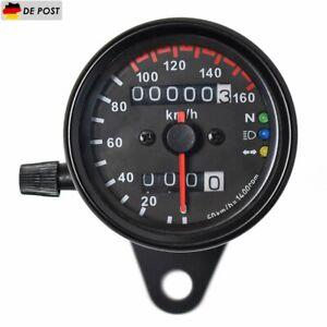 12V Universal Motorrad Tacho Kilometerzähler Tachometer LED Kontrollleuchten