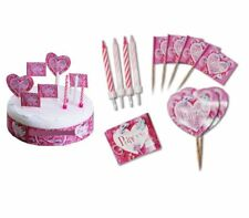 PRINCESS HAPPY BIRTHDAY CAKE DECORATION 19 PIECE KIT PINK WRAP CANDLES FLAGS