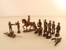 Elastolin Lot de 14 soldats allemands cheval 1939 ancien 55 mm  RARE