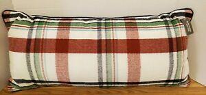 "3pk THRESHOLD Oblong Flannel Plaid Throw Pillow | 26"" x 12"" Cream/Red/Navy/Blue"