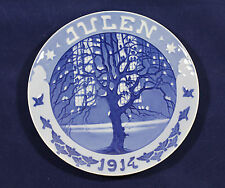 1914 Royal Copenhagen Christmas plate Sparrows in Tree in Front of a Lit Church