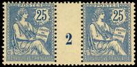 France 1902 25c VIOLET MILLESIMES #2 GUTTER PAIR MINT #136 MLH fine CVMaury