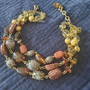 Stephen Dweck Mixed Gems 3 -Strands SCARABS CITRINE AMETHYSTTone Necklace