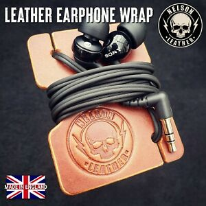 Leather Earphone Wrap Headphone Organiser Cable Tidy Leather Cable Wrap Holder