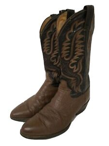 Justin Cowboy Boots Leather Two Toned Black Brown Size 6.5 Vintage
