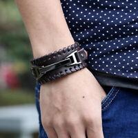 Men's Wide Leather Band Bracelet Watch Buckle Metal Wristband Bangle Stylish
