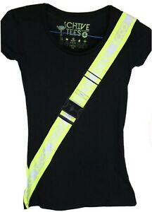 The CHIVE TEES, Women's Small Black T-shirt, Green & Silver Safety Belt, KCCO