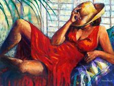 CHILLING BY MONICA STEWART African American sexy woman in red dress poster 20x16