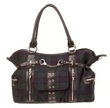 GREEN Tartan Borsetta Spalla Cross Body Bag Da Banned Rockabilly controllato VERDE