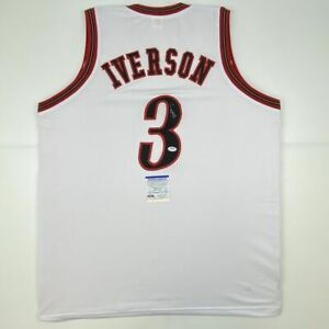 Autographed/Signed ALLEN IVERSON Philadelphia White Basketball Jersey PSA COA
