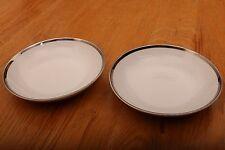 "2 Aristo Craft Fine China Royal Platinum Bowls Made In Japan 5 3/4"" x 1"""