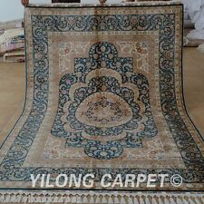 Yilong 5.5'x8.3' Square Silk Rugs Hand Knotted Hand-made Palace Nice Carpet 1695