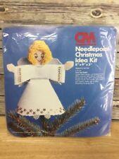 Vintage 1978 Tree Top Angel Plastic Canvas Needlepoint Christmas Idea Kit
