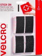 VELCRO® GENUINE - BLACK STRIPS - 6 SETS - 25MM X 50MM  - SELF ADHESIVE - NEW