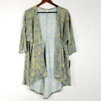 NWT LuLaRoe Lindsay Womens Size S Grey Paisley Floral Print Open Cardigan Yellow