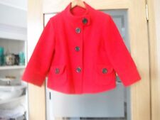 Size 10 New Look Bright Red Jacket In Wool Blend 3/4 Length Sleeves.