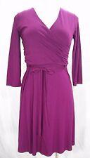 Lands End 445427 3/4-Sleeve Knit Surplice Dress Small 6-8 Wine Grape Purple NWT