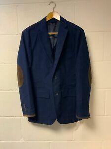 Mens Polo Ralph Lauren Blazer Jacket Navy Blue Suede Patch Size M