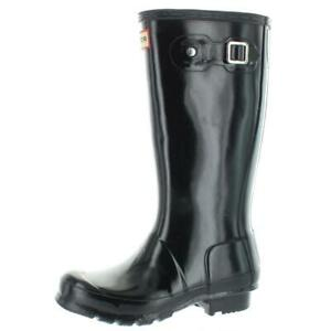 Hunter Girls Original Gloss Black Rain Boots 2 Medium (B,M) Little Kid BHFO 1668