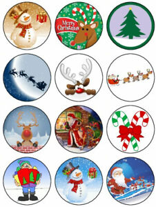 Christmas Edible Icing, Cup Cake Toppers 12 x 5.5 cm Mixing Set 5