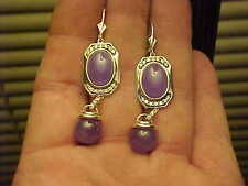 Excellent Quality Elegant Lavender Ball Dangle Jade Sterling Silver Earring Set