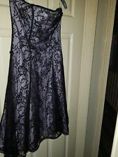 Womens Oasis Lilac and Black Mesh-Effect Strapless Dress. Size 12.