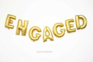 """40"""" ENGAGED gold letter balloons"""