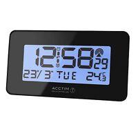 ACCTIM MORITZ BLACK RADIO CONTROLLED ALARM CLOCK TIME CALENDAR TEMPERATURE