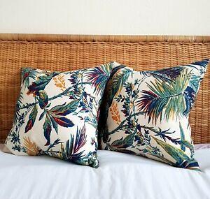 Cream & Multicolour Floral Fauna Hand Screen Printed Linen Scatter Cushions x 2