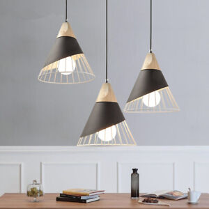 3X Wood Pendant Light Kitchen Lamp Home Pendant Lighting Black Ceiling Lights