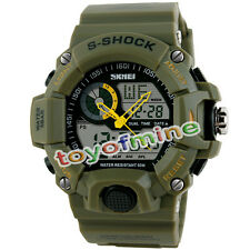 Etanche LED Digital Alarm Date Wrist Watch Mens Armée Sport verte Analog Watch
