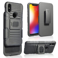 For Motorola one/P30 Play Shockproof Armor Stand Holster Belt Clip Case Cover