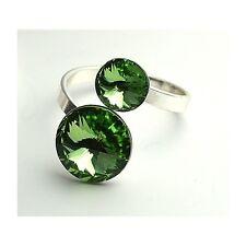 SILVER PLATED - RIVOLI RINGS - Crystals from Swarovski® - Adjustable