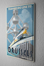 Tin Sign Trans Euro Brussels Metal Plate