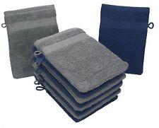 Betz lot de 10 gants de toilette Premium: bleu foncé & gris anthracite, 16x21 cm