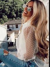 BNWT Zara White Organza Puff Sleeve Polka Dot Blouse Shirt Top  Zara XS