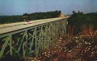 VINTAGE POSTCARD WEST VIRGINIA TURNPIKE BRIDGE BLUESTONE GORGE GLASS HOUSE SNACK