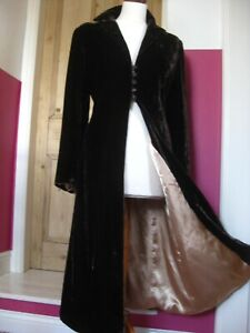 M&S PER UNA brown velvet OPERA COAT JACKET 14 12 long full length duster silk