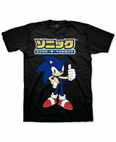 Sonic Mens T-Shirt Black Size Medium M Hedgehog Kanji Crewneck Graphic Tee 297