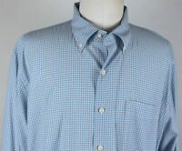 MINT Peter Millar Sullivan L/S Button Down Sport Shirt MENS XL Blue Mini Check