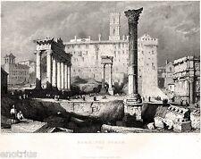 Roma: Foro Romano. Stato della Chiesa.Acciaio. Stampa Antica + Passepartout.1836