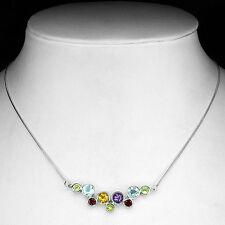 Plata 925 Redondo Facetado Natural Arco Iris de piedras preciosas de burbuja Collar 18,5 Pulgadas