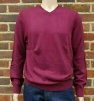 Men`s Denver Hayes V-Neck Merino Wool Blend Jumper Size Small Plum Red
