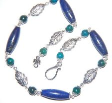 Attractive Navy LAPIS LAZULI & Peacock Jasper Gemstone with Silver Leaf NECKLACE