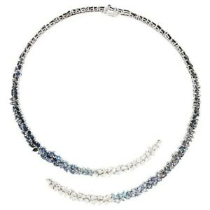 14k White Gold Plated Blue & White Pear Cut  Studded Necklace For Womens