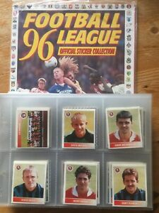 Panini Football League 96 - Complete Loose Sticker Set In Sleeves + Empty Album