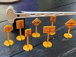 Vintage Plastic MODEL RAILROAD ROAD Street Signs- Set of 7 &RR Bar