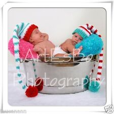 Crochet Baby Dr. Seuss Thing 1 and 2 Twins Long Tail Elf Hats ~ Adorable ~